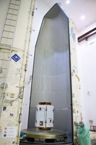 القمر الصناعي 'فينوس' في قاذفات الصواريخ، الذي تم إطلاقه من غيانا الفرنسية في 2 أغسطس، 2017. (وكالة الفضاء الإسرائيلية)