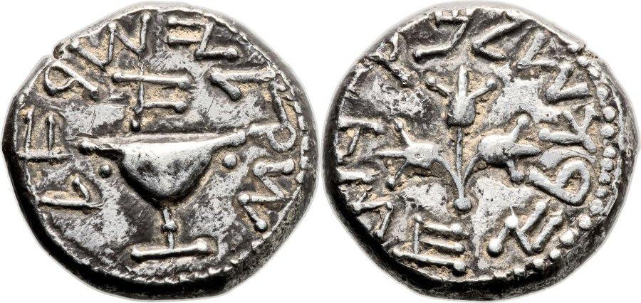 صورة للتوضيح: شيكل فضي من العام الأول للثورة اليهودية ضد الرومان والذي بيع في مزاد علني بأكثر مليون دولار. (photo credit: CC BY Ancient Art, Flickr)