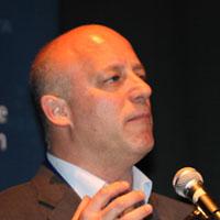 ليئور لوطان خلال كلمة له في مؤتمر هرتسليا السنوي، 8 يونيو، 2015 (IDC Herzliya)
