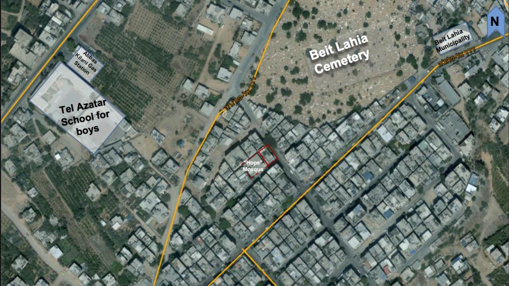 صورة فضائية وفرها الجيش تظهر الموقع المفترض لمدخل نفق حفرته حماس تحت مبنى سكني في شمال قطاع غزة (Israel Defense Forces)