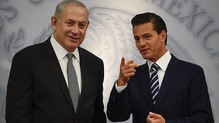 يتحدث رئيس الوزراء بنيامين نتنياهو مع الرئيس المكسيكي إنريكي بينا نيتو في مقر الاقامة في لوس بينوس في مكسيكو سيتي في 14 سبتمبر 2017. (Alfredo Estrella/AFP)