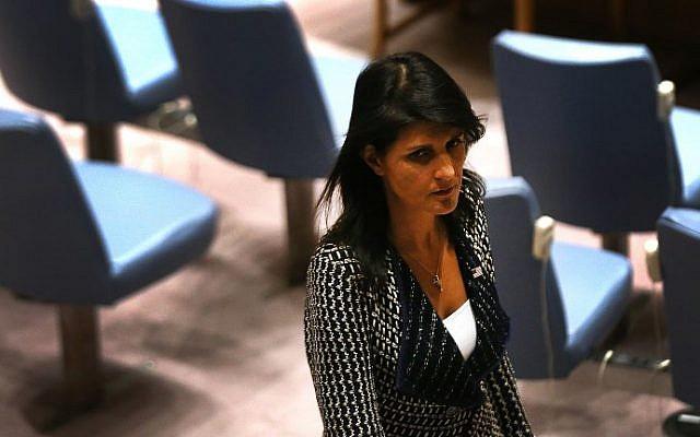 السفيرة الأمريكية لدى الأمم المتحدة نيكي هيلي في اجتماع لمجلس الأمن التابع للأمم المتحدة في 29 أغسطس 2017. (Spencer Platt/Getty Images/AFP)
