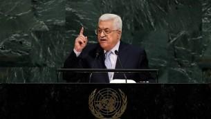 رئيس السلطة الفلسطينية محمود عباس يلقي خطابا أمام الجمعية العامة للأمم المتحدة في مقر الأمم المتحدة، 20 سبتمبرن 2017 في نيويورك. (Drew Angerer/Getty Images/AFP)