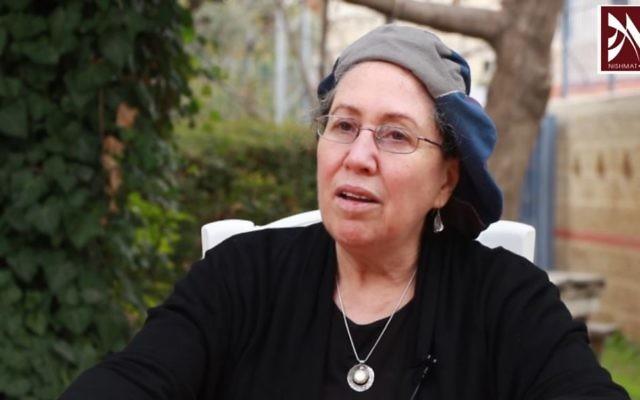 الرابانيت حانا هينكين، مؤسسة وعميدة 'معهد نيشمات' للنساء، 2014. (Screen capture: YouTube)