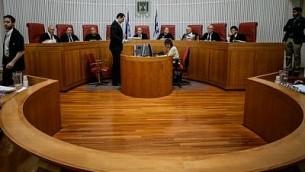 صورة توضيحية: محكمة العدل العليا في جلسة. (Miriam Alster/Flash90)