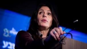 وزيرة الثقافة والرياضة ميري ريغيف تتحدث خلال مؤتمر في القدس، 13 فبراير 2017. (Yonatan Sindel/Flash90)