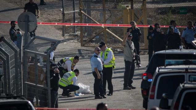قوات الامن ترد على هجوم وقع امام مستوطنة هار ادار بالقرب من القدس، 26 سبتمبر 2017 (Hadas Parush/FLASH90)