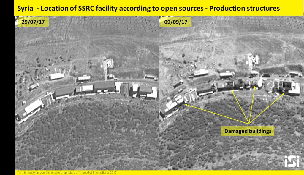 صور الأقمار الصناعية الإسرائيلية تظهر نتائج غارة جوية نسبت إلى الجيش الإسرائيلي على قاعدة تطوير الأسلحة العسكرية السورية في 7 سبتمبر 2017. (ImageSat International)