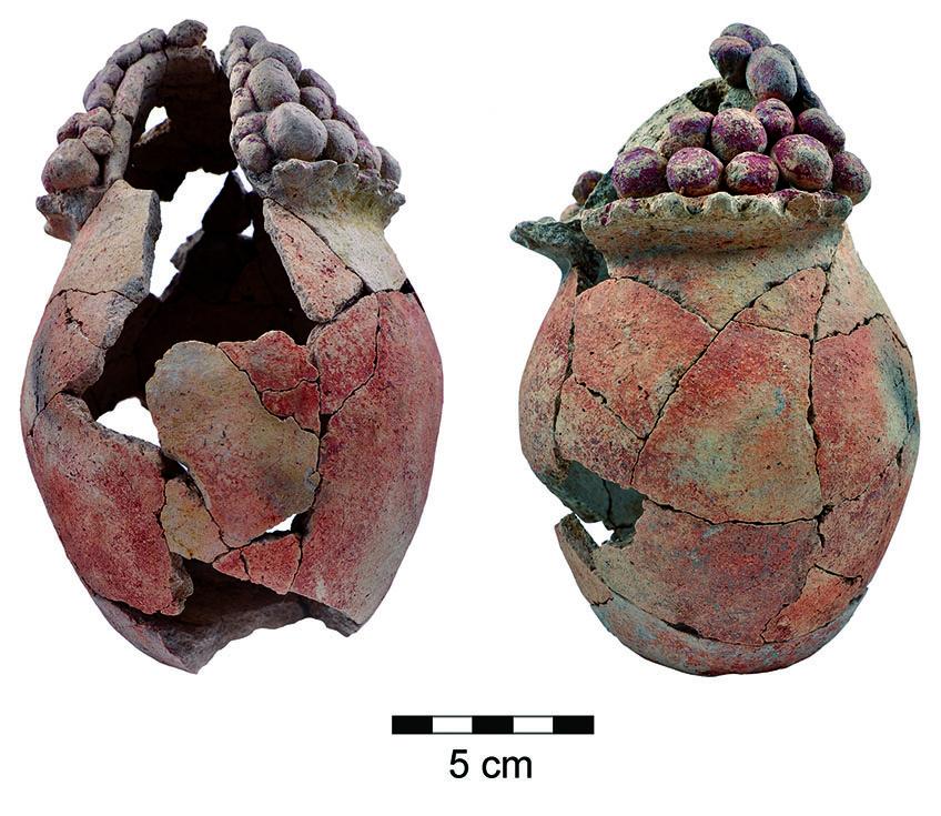 نموذج يبلغ عمره 7200 سنة من صوامع الحبوب المكتشفة في تل تساف في غور لأردن. (courtesy)