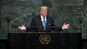 الرئيس الأمريكي دونالد ترامب يخطب أمام الجمعية العامة السنوية ال 72 للأمم المتحدة في نيويورك في 19 سبتمبر 2017. (Drew Angerer/Getty Images/AFP)