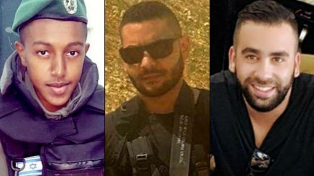 من اليسار: سلومون غفريا، يوسف عثمان، وأور عريش، ثلاثة الإسرائيليين الذي قُتلوا في هجوم امام مستوطنة هار ادار في 26 سبتمبر 2017 (Courtesy)