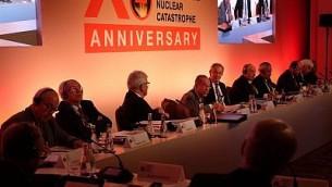 يتحدث وزير الدفاع الأمريكي الأسبق وليام بيري في مؤتمر لوكسمبورغ السنوي العاشر بشأن منع الكوارث النووية والذي حدث في باريس في 9 أكتوبر/تشرين الأول 2017. (Judah Ari Gross/Times of Israel)