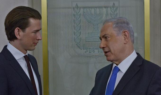 رئيس الوزراء بنيامين نتنياهو يلتقي بوزير الخارجية النمساوي سيباستيان كورتس، 23 ابريل 2014 (Kobi Gideon/GPO/Flash 90)