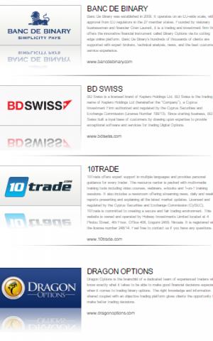 موقع سبوتوبشين يضع قائمة لعددا من شركات الخيارات الثنائية التي تستخدم منصة التداول الخاصة به. (Screen capture, August 2016: Spotoption.com)
