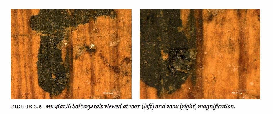 ذرات الملح التي قد رشت على رأس رقعة قديمة على هذه القطعة من مجموعة شوين، والتي كتبت عليها الحروف السوداء اللامعة الحديثة. (With permission from Dr. Martin Schøyen)