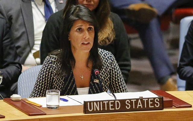 السفيرة الأمريكية لدى الأمم المتحدة نيكي هالي تتحدث في مجلس الأمن التابع للأمم المتحدة في 29 أغسطس، 2017 في مقر المنظمة في نيويورك. (AFP PHOTO / KENA BETANCUR)