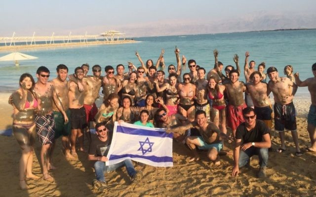 A birthright trip organized by Georgia Tech Hillel visits the Dead sea in December 2016.