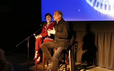 "David Broza and LoisFrank discuss Broza's film ""East Jerusalem West Jerusalem"" after the screening."