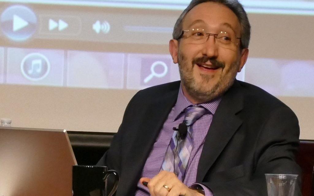 "Rabbi Mark Zimmerman fills the role of Jimmy Fallon on the ""Tonight Show"" set at Beth Shalom's ""Studio 613."""