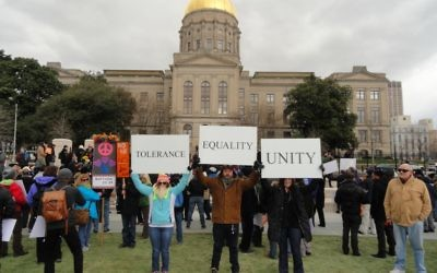 People rally against religious liberty legislation in February.