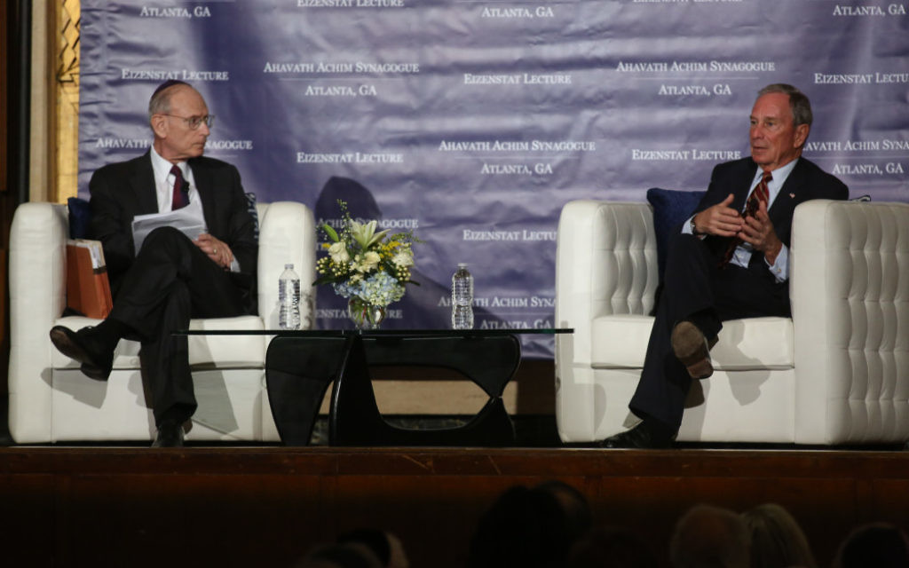 Michael Bloomberg answers questions from Stuart Eizenstat at the annual Eizenstat Lecture. (Photo by Chris Savas/Bloomberg)