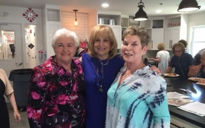 Birthday girl Jackie Granath is flanked by longtime friends Arlene Appelrouth (left) and Bobbi Perlstein.
