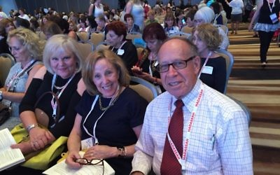 Hadassah Greater Atlanta lifetime members Linda Rosh and Susan and Butch Frumin attend the opening plenary of the National Convention on Monday night, July 25.