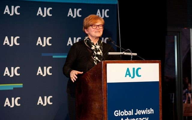 Deborah Lipstadt accepts a national American Jewish Committee award in May.