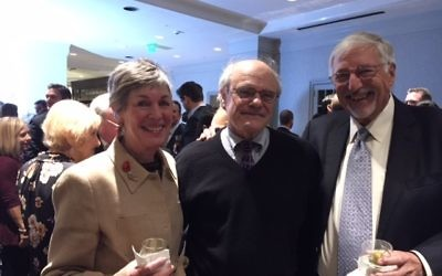 """Elaine and Jerry Blumenthal flank Emory professor Ken Stein,who said about Danny Danon's committee chairmanship, """"Things are not all good at the U.N., but this suggests progress."""""""