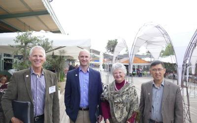 (From left) Geert de Vries, Timothy Denning, Julia Hilliard and Binghe Wang visit the old Jerusalem railway station.