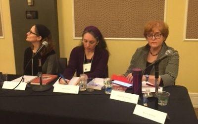 (From left) Ellie Schainker, Miriam Udel and Deborah Lipstadt present their recently published books.