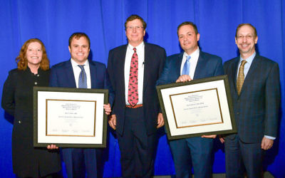 (From left) Emory University President Claire Sterk, Peter Rossi, Cox Enterprises Chairman Jim Kennedy, John Pattaras and Emory Healthcare CEO Jonathan Lewinmark the announcement of the endowed prostate-related chairs.
