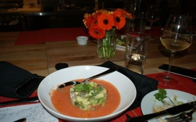 Avivit Priel's ceviche with avocado and tomato sits in a pool of gazpacho. (Photo by Aliza Abusch-Magder)