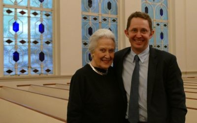 """Janice Rothschild Blumberg, the widow of Rabbi Jacob Rothschild, stands with Todd Weeks, who plays the rabbi in """"The Temple Bombing."""""""