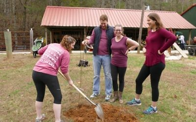 On the final day of the retreat, participants help plant a fruit orchard at Ramah Darom with help from Atlanta-based farming entrepreneur Jonathan Tescher.