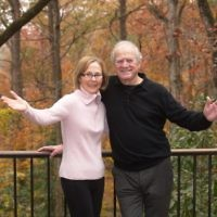 Carol and Paul Muldawer enjoy the woodsy view from their deck.