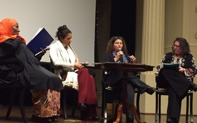 "Compassionate Atlanta Executive Director Leanne Rubenstein leads a discussion on ""Compassion in Action: An Interfaith Response"" with New American Pathways' Safia Jama, Jewish Voice for Peace's Ilise Cohen and Sustainable Wellness lifestyle transformation consultant Sonali Sadequee."