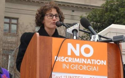 Rabbi Pamela Gottfried speaks at a rally against religious liberty legislation at the Georgia Capitol in February 2016. (Photo by Kevin Madigan)