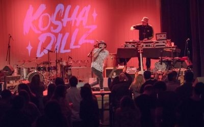 Jewish-American hip-hop artist Kosha Dillz gets the crowd into it at the Buckhead Theatre during AJMF8 in March 2017.