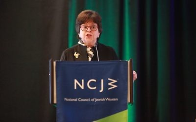Photo courtesy NCJW National Council of Jewish Women CEO Nancy Kaufman speaks at her organization's convention, which was held days after the JFN conference less than a mile away. For coverage of the NCJW convention and more from the JFN gathering, visit www.atlantajewishtimes.com and read our April 7 issue.