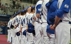 """Team Israel wears blue kippot during the playing of """"Hatikva"""" earlier in the World Baseball Classic."""