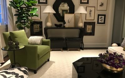 Lisa Palmer designs with a color a palette of green, cream and black