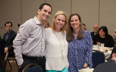 JF&CS board member Justin Milrad poses with Tasting co-chairs Amy Rosen and Arin Tritt.