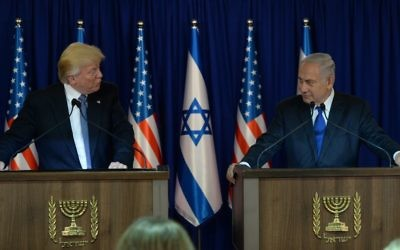 President Donald Trump and Prime Minister Benjamin Netanyahu, shown in Jerusalem on May 22, are in alignment on the Jerusalem announcement Dec. 6. (Photo by Haim Zach, Israeli Government Press Office)