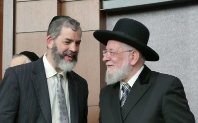 Rabbis Ilan Feldman and Israel Meir Rau share a few moments after the dedication ceremony.