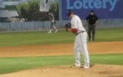 Matthew Gorst pitches for Greenville in a win against Asheville on June 29, 2017.