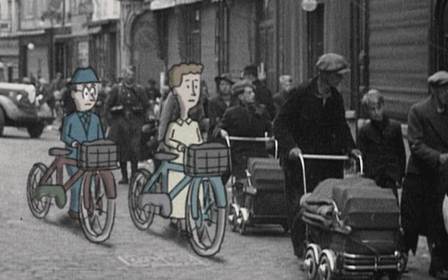 "Hans and Margret Rey flee ahead of the Nazis on makeshift bicycles in ""Monkey Business."""