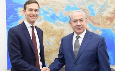 Israeli Prime Minister Benjamin Netanyahu, welcoming U.S. special envoy Jared Kushner to Israel on Thursday, Aug. 24, 2017. (Government Press Office photo)