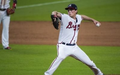 Max Fried pitches for the Braves on Aug. 8, 2017, against the Philadelphia Phillies. (Photo courtesy Pouya Dianat/Atlanta Braves)