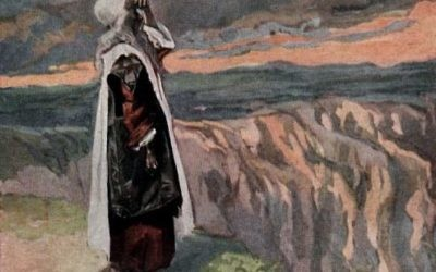Moses gets a glimpse of the Promised Land in a detail of a 1903 paining by James Tissot. Hashem Himself buried Moses soon after.